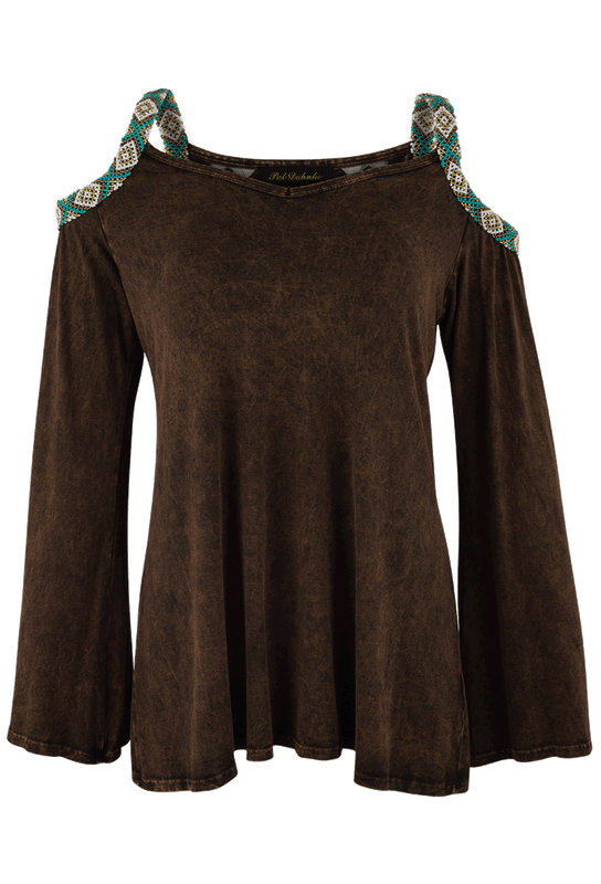 Pat Dahnke Beaded Cold Shoulder Top - Front