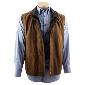 Remy - Double Collar Lambskin Vest - Cocoa/Bourbon