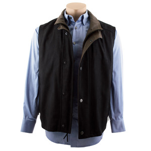 Remy Double Collar Lambskin Vest - Black - Hero