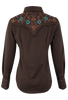Panhandle Slim Chocolate Embroidered Yoke Snap Shirt - Back
