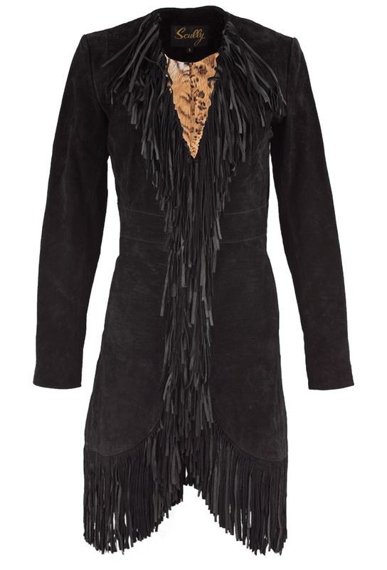 Scully Suede Long Fringe Maxi Coat - Black - Front