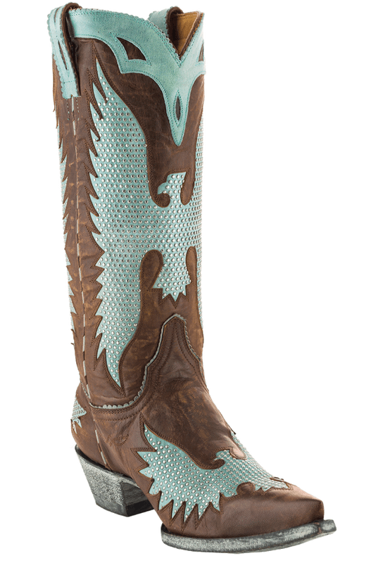 "Old Gringo Women's Brass and Aqua Iron Eagle 13"" Boots - Hero"