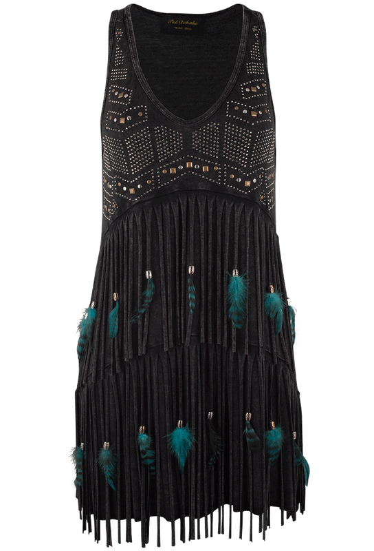 Pat Dahnke Black Fringe and Feather Tank - Front