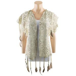 Pat Dahnke Suede Fringe and Feather Laser Cut Vest