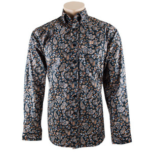 Cinch Black, Orange and Gray Tonal Paisley Print Shirt - Front