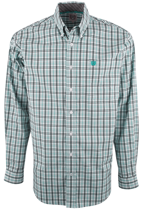 CINCH WHITE WITH GREEN AND BLACK PLAID SHIRT-FRONT