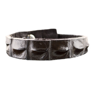 Kulu Skinny Crocodile Cuff - Brown - Front