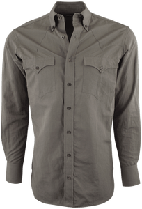 LYLE LOVETT FOR HAMILTON SOLID LINEN OLIVE SHIRT-FRONT