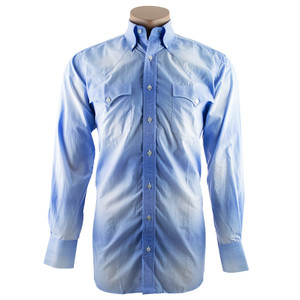Lyle Lovett for Hamilton Blue and White Ombre Plaid Shirt