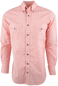 LYLE LOVETT FOR HAMILTON ORANGE AND WHITE POPLIN CHECK-FRONT