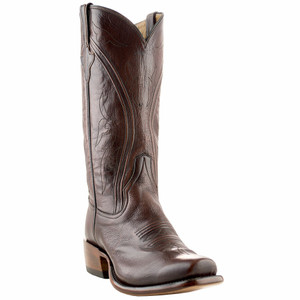 Rios of Mercedes Men's Chocolate Brushed Goat Boots with Cutter Toe - Hero