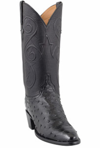 Lucchese Women's Black Full-Quill Ostrich Corded Boots - Hero