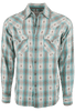 Ryan Michael Ombre Plaid Snap Shirt - Pool - Front