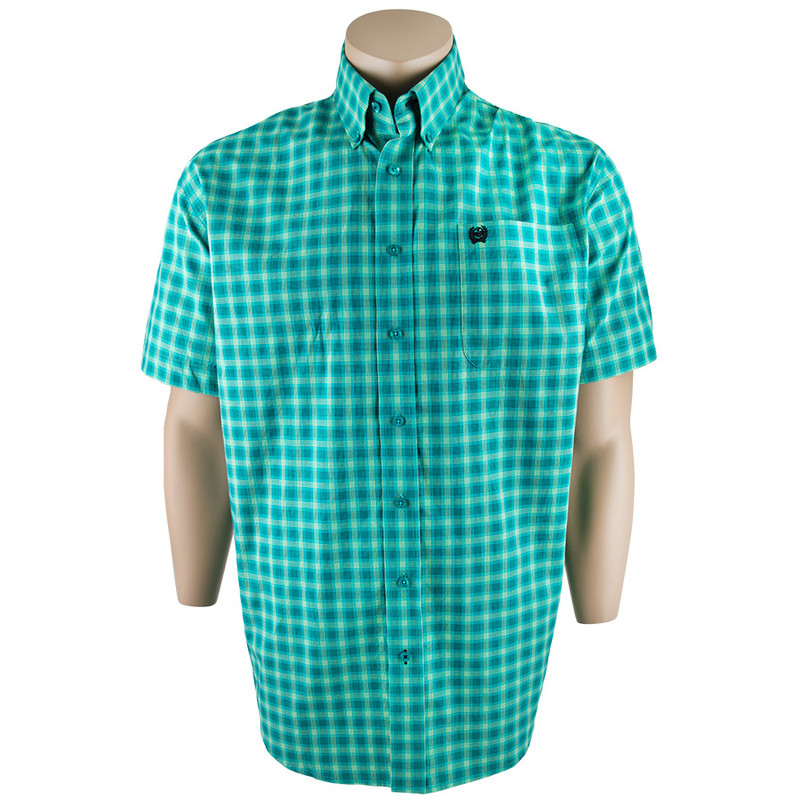 Cinch Short Sleeve Green Plaid Shirt - Front