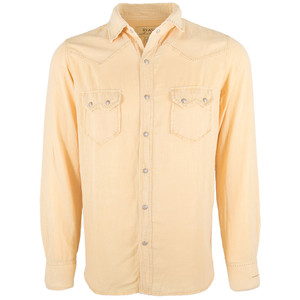 Ryan Michael Sawtooth Silk Linen Snap Shirt - Wheat - Front