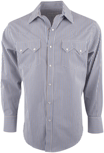 Pinto Ranch by Stubbs Blue and Brown Check Snap Shirt - Front