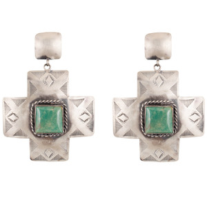 Earrings - Cross Path with Green Turquoise Earrings