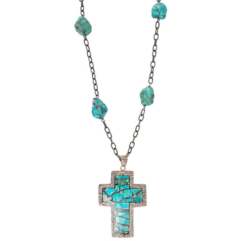Tuya Jewelry Turquoise Cross Necklace - Front