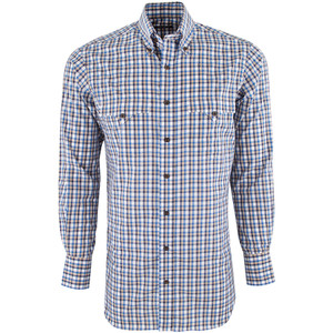 Lyle Lovett for Hamilton Blue, Tan and Navy Check Shirt - Front