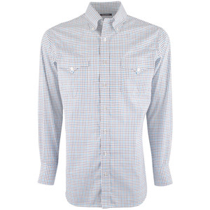 Lyle Lovett for Hamilton White with Aqua and Brown Check Shirt - Front
