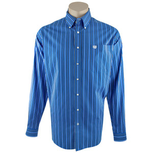 Cinch Blue, Black and White Stripe Shirt - Front