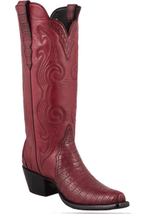 Stallion Women's Wine Caiman Crocodile Triad Boots - Hero