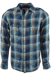 RYAN MICHAEL DOUBLE PLAID SHIRT - INDIGO- FRONT