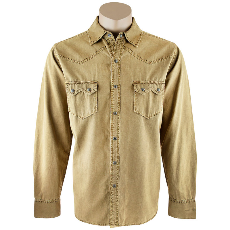 Ryan Michael Sawtooth Silk Canvas Shirt - Saffron - Front