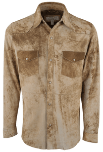 Ryan Michael Distressed Suede Shirt - Olive - Front