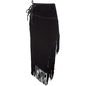 Scully Long Suede Fringe Skirt - Black - Front