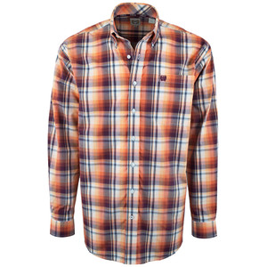Cinch Exploded Coral Plaid Plain Weave Shirt - Front