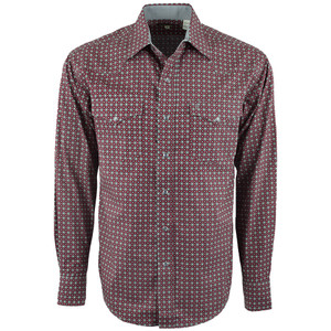 Stetson Circles Print Red Snap Shirt - Front