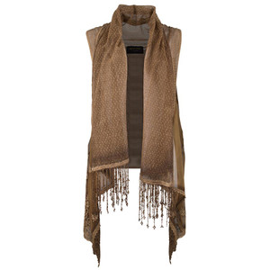 Pat Dahnke Rolled Collar Lace Vest - Front