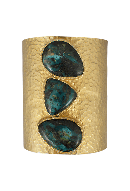 Christina Greene Multi-Stone Hammered Gold Cuff - Front
