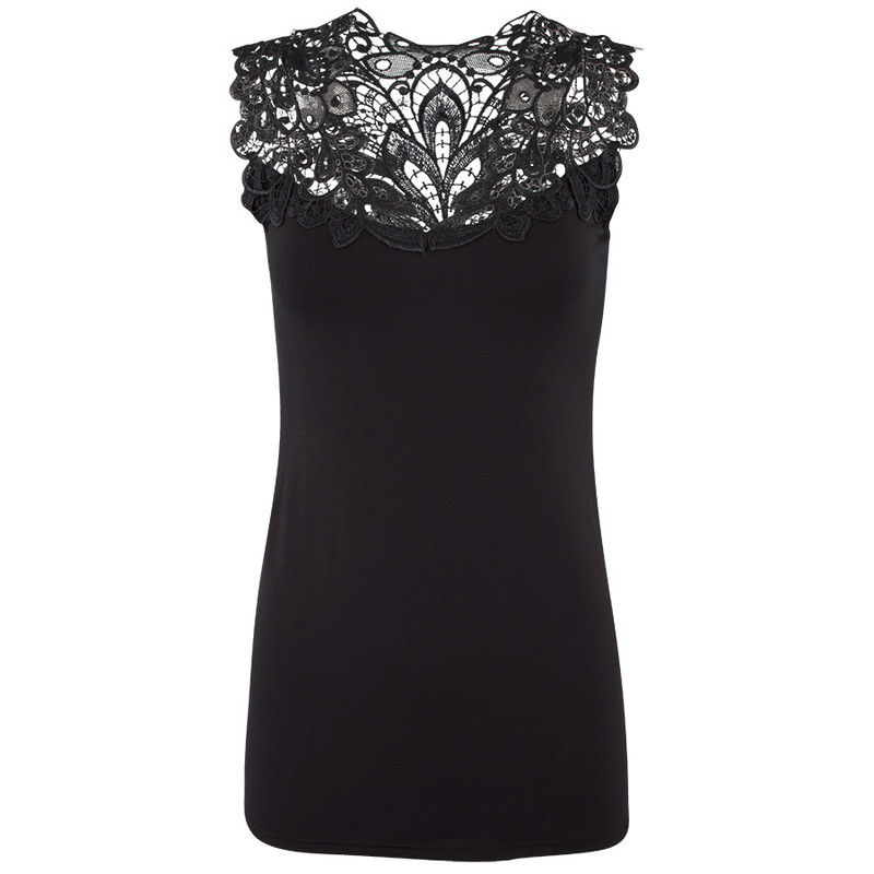 Arianne Reversible Lace Camisole - Black - Front