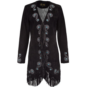 Scully Embroidered Suede Fringe Coat - Black - Front