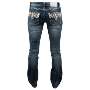 Grace in LA Junior Embellished Flap Bootcut Jeans