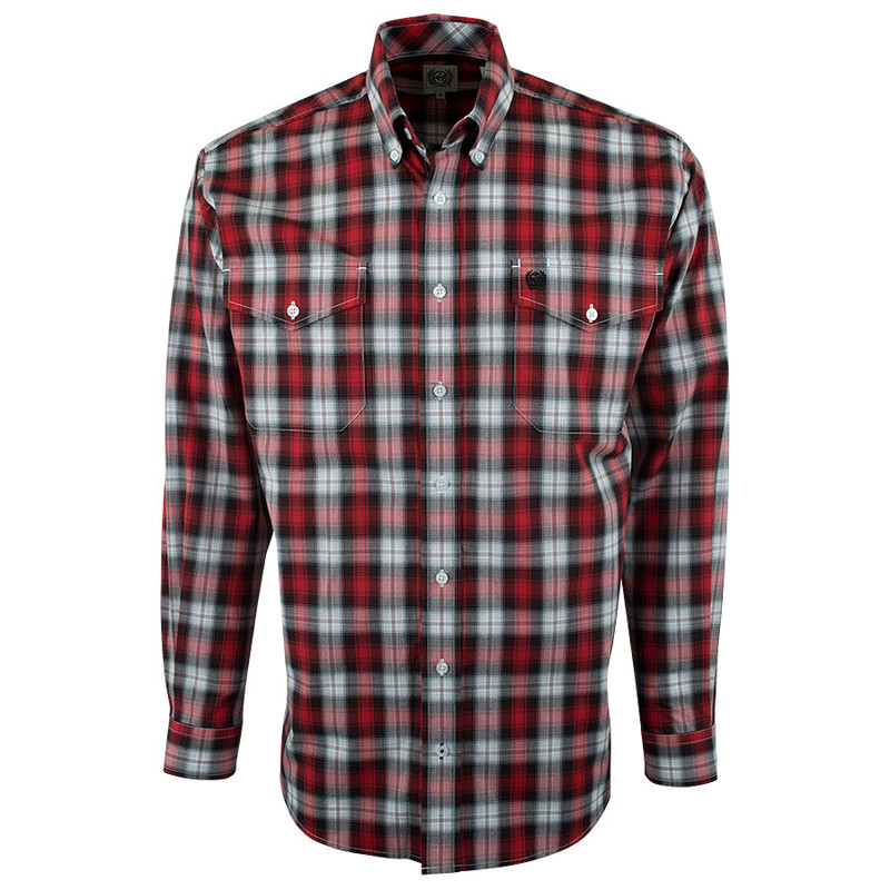Cinch Red and Black Plaid Shirt - Front