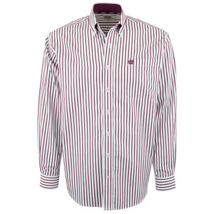 Cinch White with Burgundy Stripe Shirt - Front