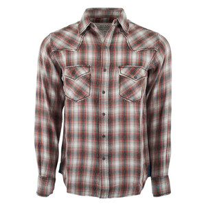 Ryan Michael Vintage Dobby Plaid Shirt - Brick - Front