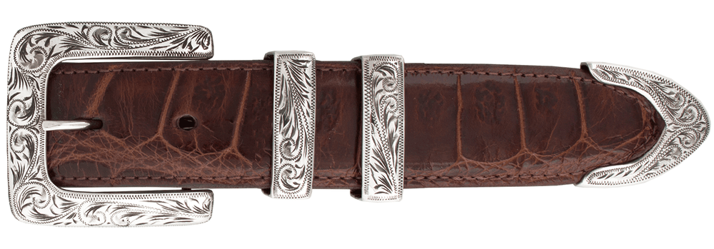"Horst Schrader Classic Square Engraved 1 1/4"" Buckle Set"