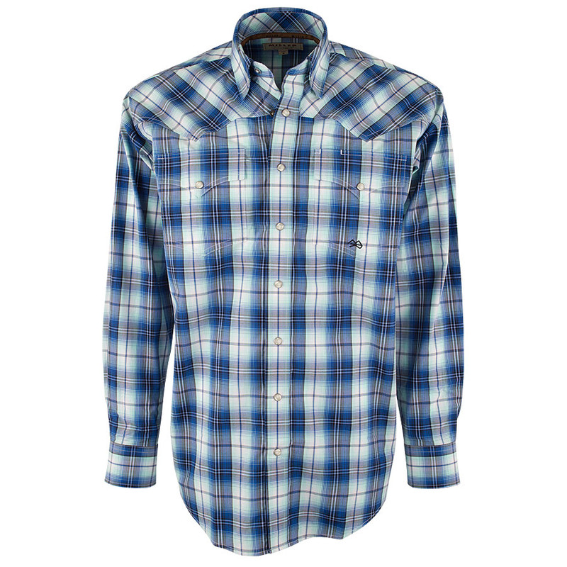 Miller Ranch Blue and Mint Plaid Snap Shirt - Front