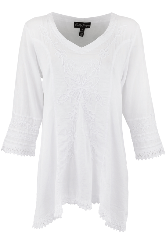 Gretty Zueger 3/4 Sleeve Crochet Tunic - Front