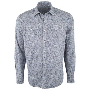 James Campbell Blue Sikina Paisley Snap Shirt - Front