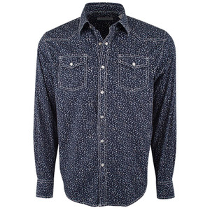 James Campbell Navy Jax Floral Snap Shirt - Front