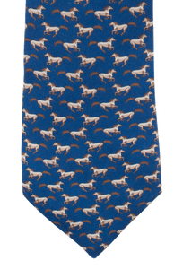 Gitman Bros. Running Horses Tie - Navy