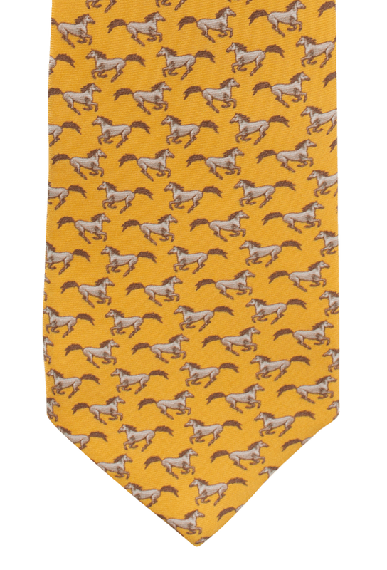 Gitman Bros. Running Horses Tie - Gold