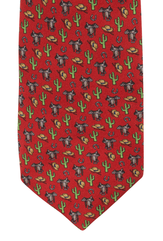 Gitman Bros. Saddle, Hats and Cactus Tie - Red