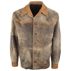 Jose Luis Lamb Suede Western Coat - Cognac Jungle - Front