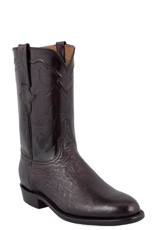 Lucchese Men's Black Cherry Smooth Ostrich Roper Boots - Hero
